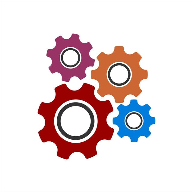 colorful gear illustration and setting vector